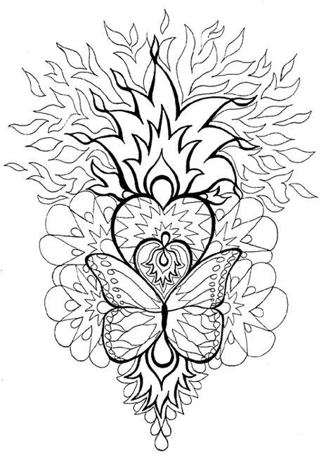 heart butterfly coloring page mandala heart butterfly kleurprenten voor volwassen
