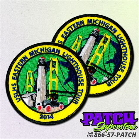 custom patches embroidered patches patchsuperstore custom uslhe michigan lighthouse tour patch patchsuperstore
