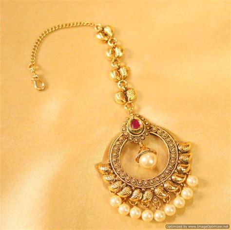 Buy Antique Ruby & Pearl Maang Tikka Online