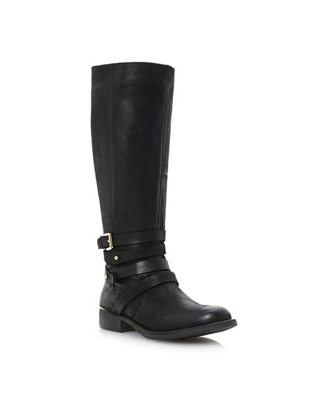 steve madden albany sm buckle knee high boots in black