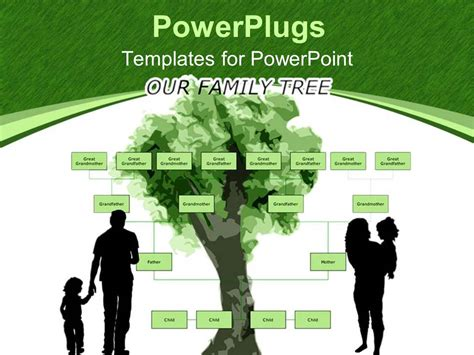 Powerpoint Template Family Tree With Parents Holding Kids On Green And White Background 11815 Powerpoint Templates Family