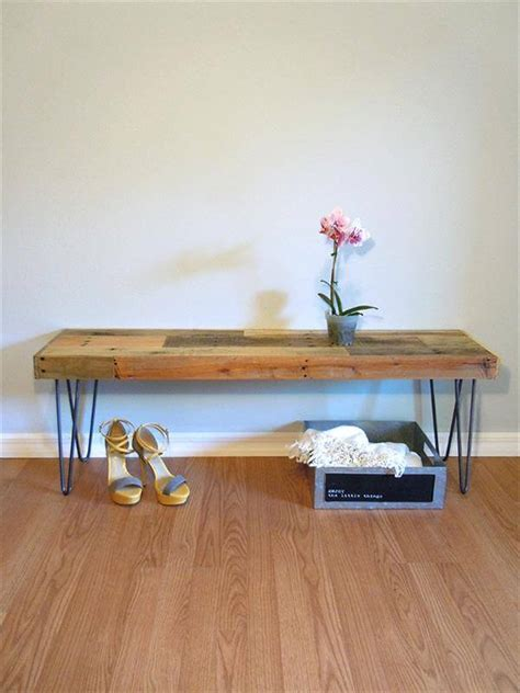 bench with hairpin legs diy pallet bench with hairpin legs pallet furniture diy