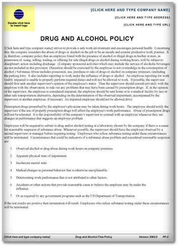drug and alcohol policy template word pdf exles