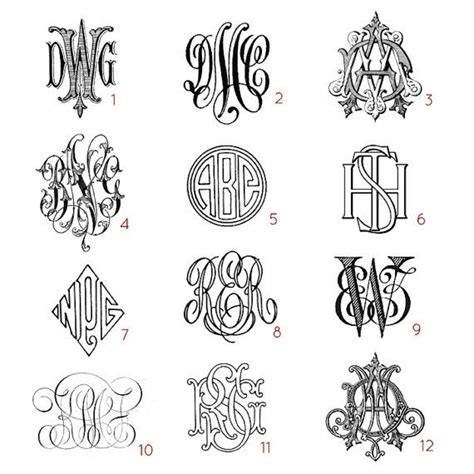 tattoo designs initials name custom three letter monograms choose your style from