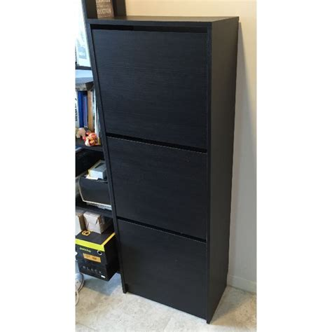 Ikea Bissa Shoe Cabinet With 3 Compartments Black Brown