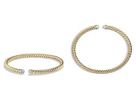 David Yurman Precious Cable Bracelet with Diamonds in Gold