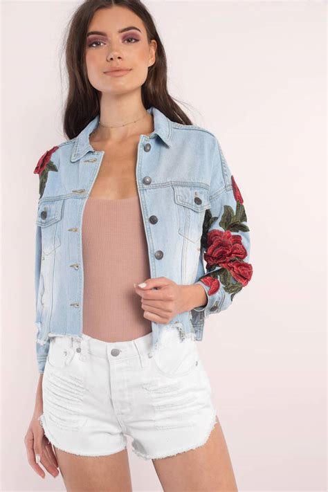 Floral Embroidered Light Jacket by Light Wash Outerwear Embroidered Outerwear Light Wash