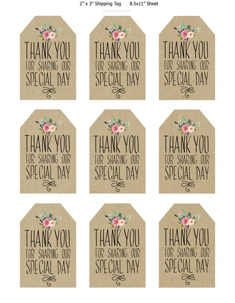 printable wedding favor tags thank you printable tags