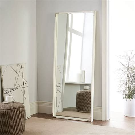 white floor mirror malone caign floor mirror white lacquer west elm