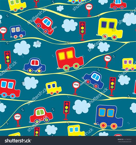 auto pattern finder seamless kids pattern with cars vector illustration