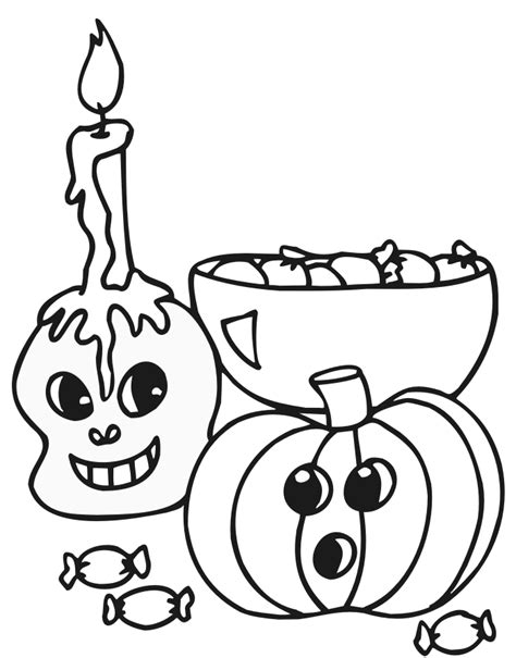 halloween coloring page pumpkin skull and candy