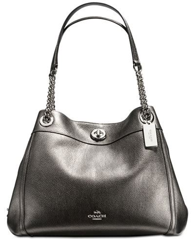 Coach Turnlock Bag by Coach Turnlock Edie Shoulder Bag In Metallic Leather Handbags Accessories Macy S