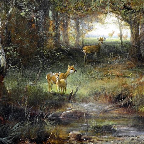 antique oil painting deer family   forest