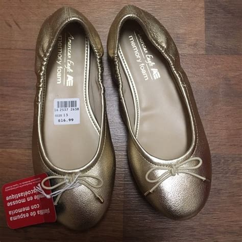 gold shoes size 13 18 american eagle by payless other gold