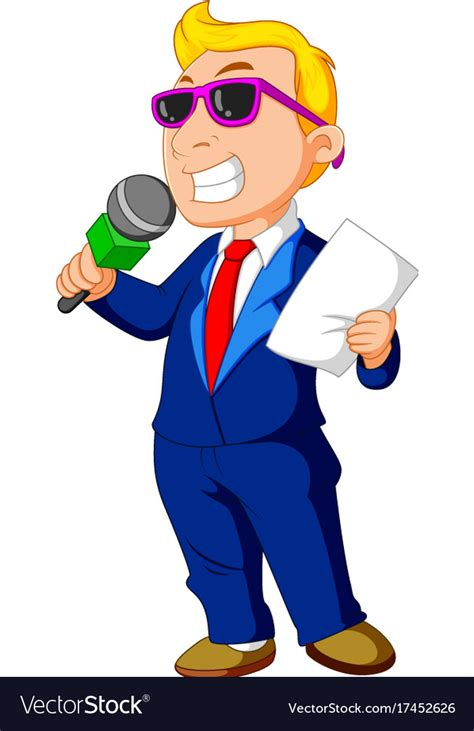 hos images host holding a microphone royalty free vector image