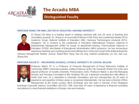 Us Mba In Singapore by Arcadia Unveristy Top Ranked Us Part Time Mba In Singapore