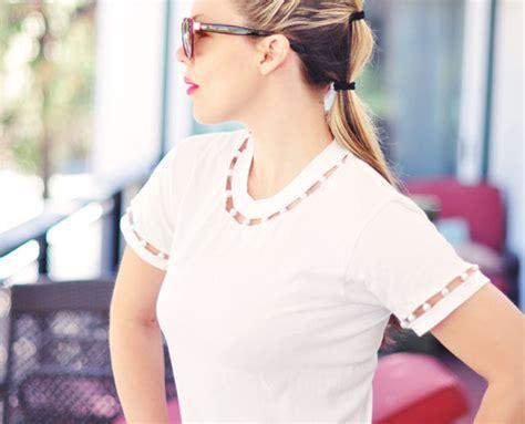diy cut shirt sleeves diy cut out t shirt with pearl neck sleeves maegan