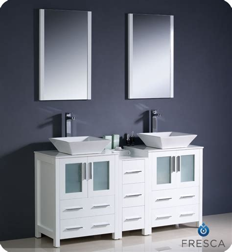 White Modern Bathroom Vanity Fresca Torino 60 Quot White Modern Sink Bathroom Vanity With Vessel Sinks
