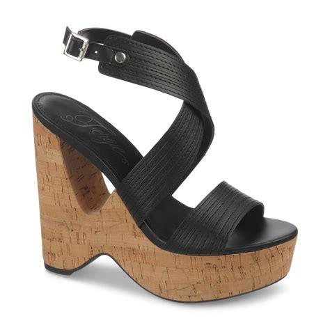 fergie alive cork platform wedge sandals in black lyst