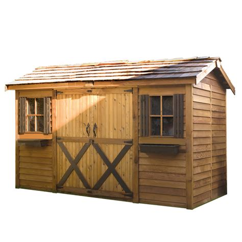 shed designer lowes shop cedarshed longhouse gable cedar storage shed common