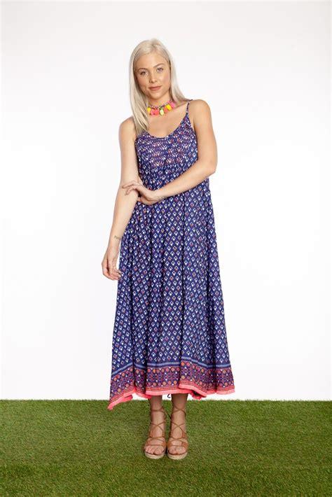 Fansia Maxi fantasia navy astrid maxi dress cas co