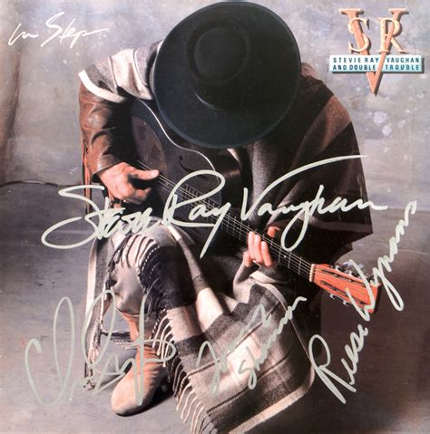 lot detail stevie ray vaughan  double trouble signed  step album