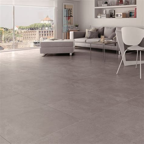 large grey floor tiles with modernist cement effect finish