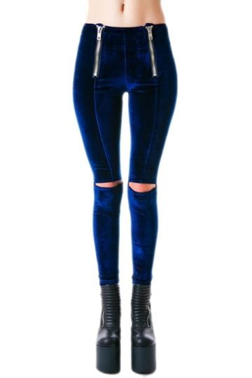 Legging Import Velvet blue pretty womens ripped zip velvet