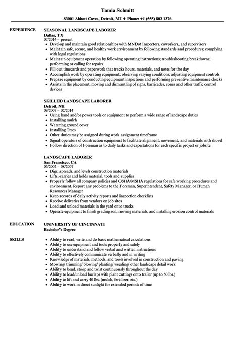 landscape resume sles resume for landscaping resume ideas