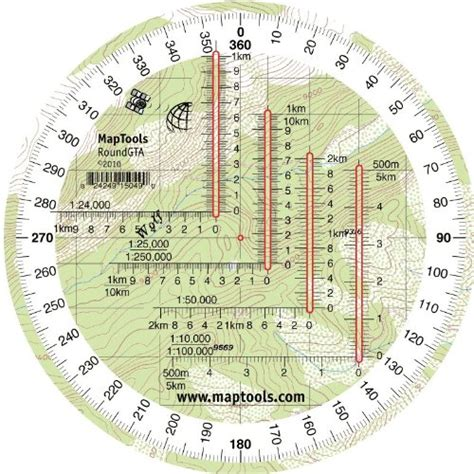 printable map protractor round military coordinate scale and protractor
