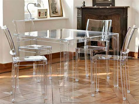 tavolo 100x100 invisible table tavolo kartell di design in polimero