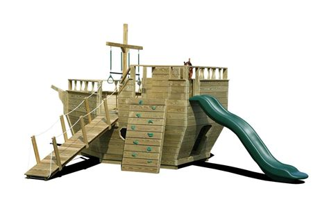 pirate ship backyard playset wooden playground equipment wooden play yard structures