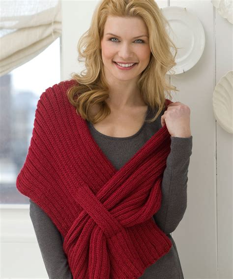 pattern red heart ribbed slit shawl knitting pattern red heart knit