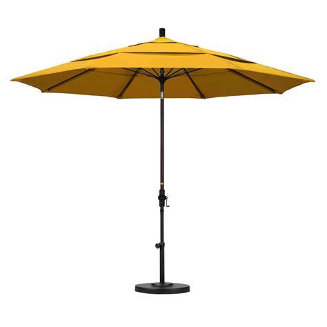 Yellow Patio Umbrella California Umbrella 11 Ft Fiberglass Collar Tilt Vented Patio Umbrella In Yellow