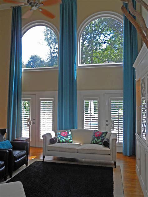 custom draperies atlanta custom draperies two story traditional living room