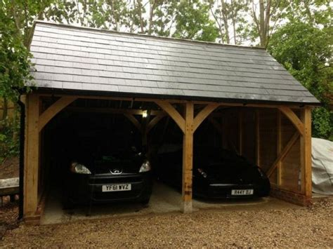 Car Port by Traditional Oak Framed 2 Bay Carport Dreamscape
