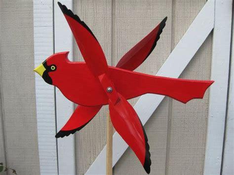 Handmade Whirligigs - large colorful cardinal bird whirligig bird