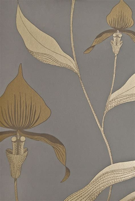 wallpaper grey and gold orchid floral wallpaper restyled dark grey wallpaper with