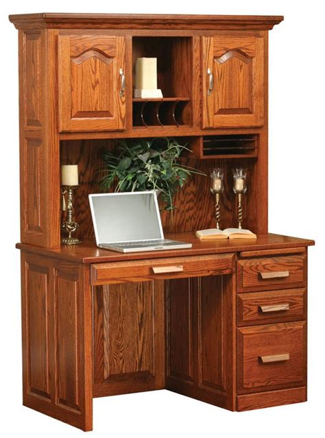 amish flat top computer desk with hutch top 48 quot