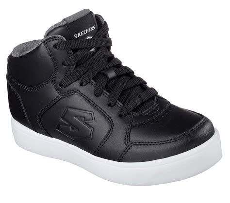 skechers energy lights black skechers energy lights kids leather hi top trainers black