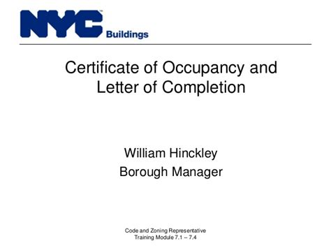 certification letter for occupancy new york city department of buildings filing rep course 105