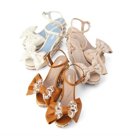 Big Ribbon Shoes Murah Meriah liz big ribbon wedge sandals