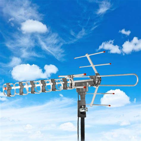outdoor waterproof lified antenna hd tv high gain 36db rotor 360 176 uhf vhf fm ebay