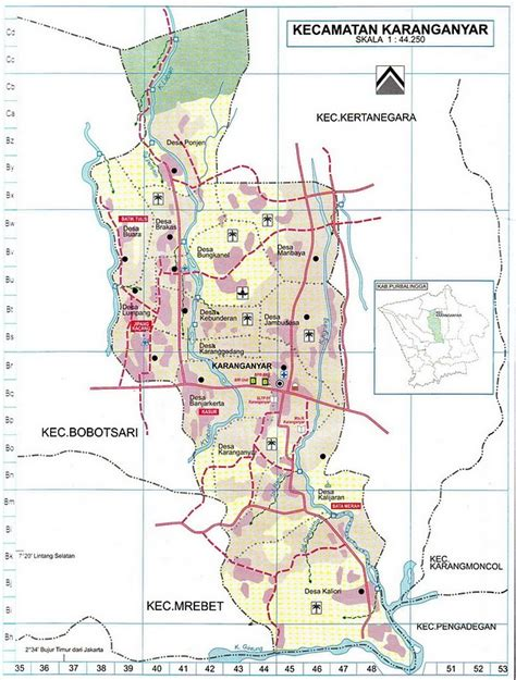 takjub indonesia peta kabupaten purbalingga  kecamatan