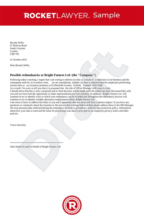acas sample redundancy letter gallery