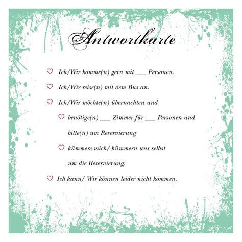 Hochzeitseinladung Antwortkarte by Antwortkarten Leben Wachsen Bl 252 Hen