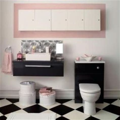 black white bathroom with pink accents bath ideas