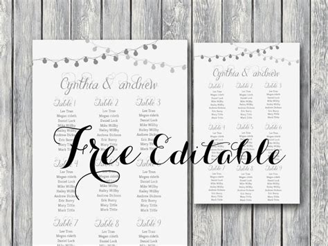 bridal shower seating chart template free editable wedding seating chart template printable