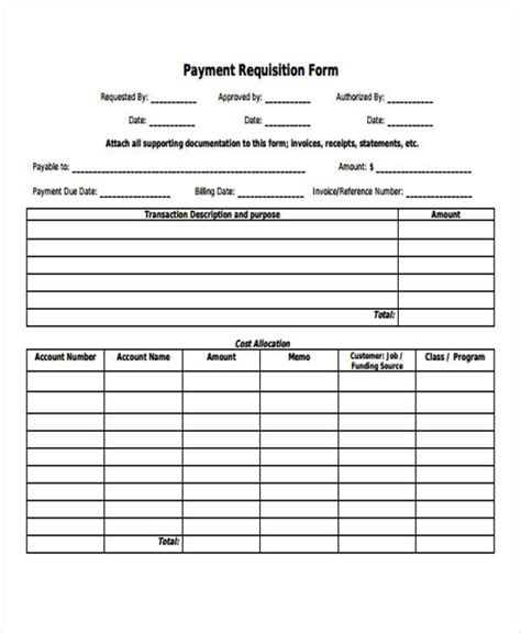 payment form template 42 free requisition forms sle templates