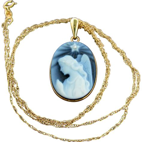 Guardian Necklace 14k Necklace With Guardian Cameo Pendant And 18 Inch